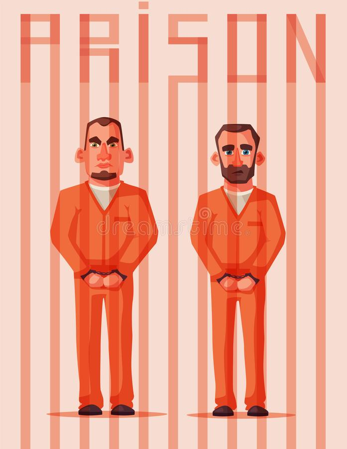 监狱的囚犯 字符设计 动画片司令员枪他的例证战士秒表 皇族释放例证