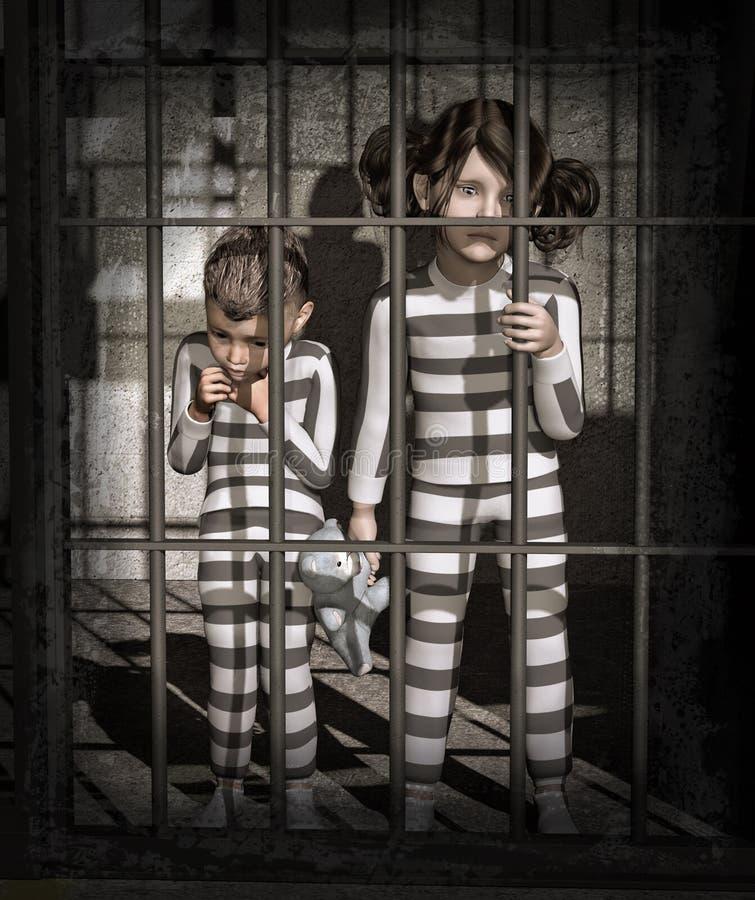 监狱的孩子 向量例证