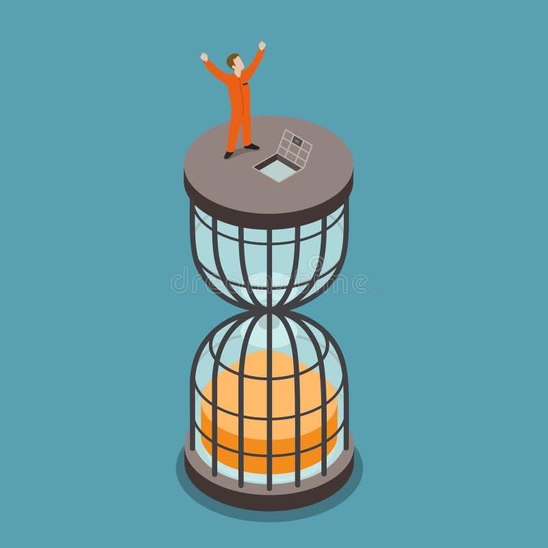 从监狱监禁期限平的等量传染媒介3d释放 库存例证