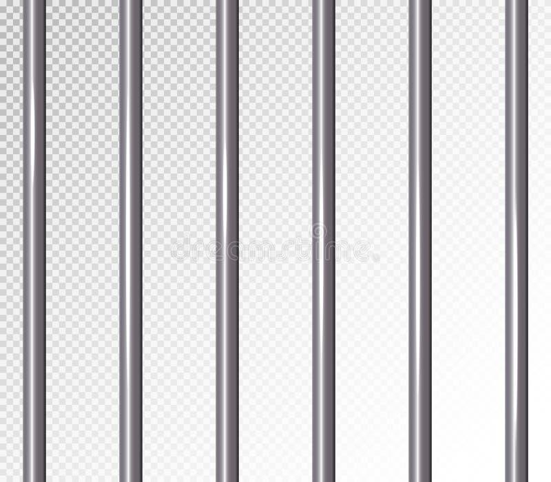 监狱禁止传染媒介例证 透明的背景 3D金属监狱,牢房栅格例证 皇族释放例证