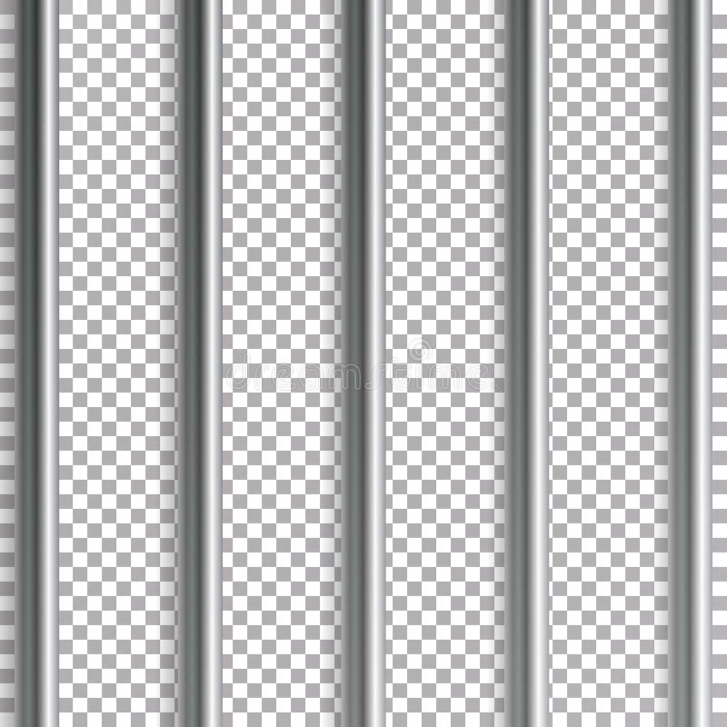 监狱禁止传染媒介例证 隔绝在透明背景 3D铁或钢牢房栅格例证 库存例证