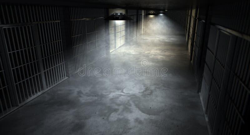 监狱走廊和电池 免版税库存照片