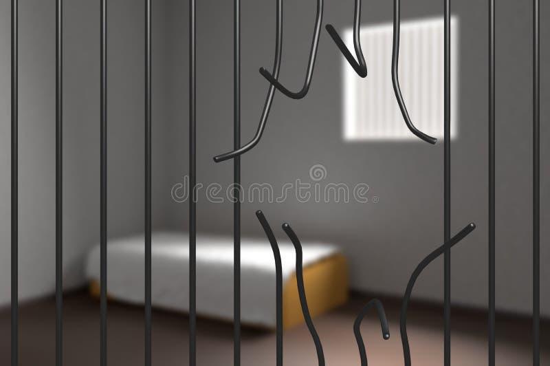 从监狱逃脱的囚犯 弯的酒吧在监狱 3d被回报的例证 向量例证
