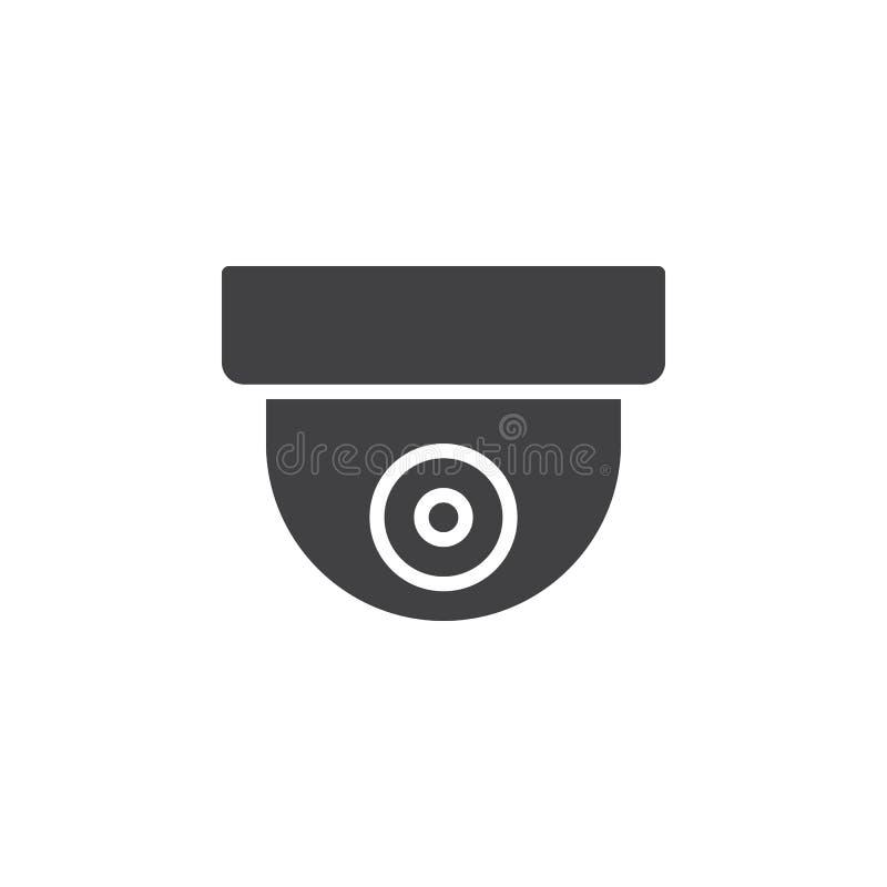 监视圆顶照相机象传染媒介,被填装的平的标志,在白色隔绝的坚实图表 库存例证
