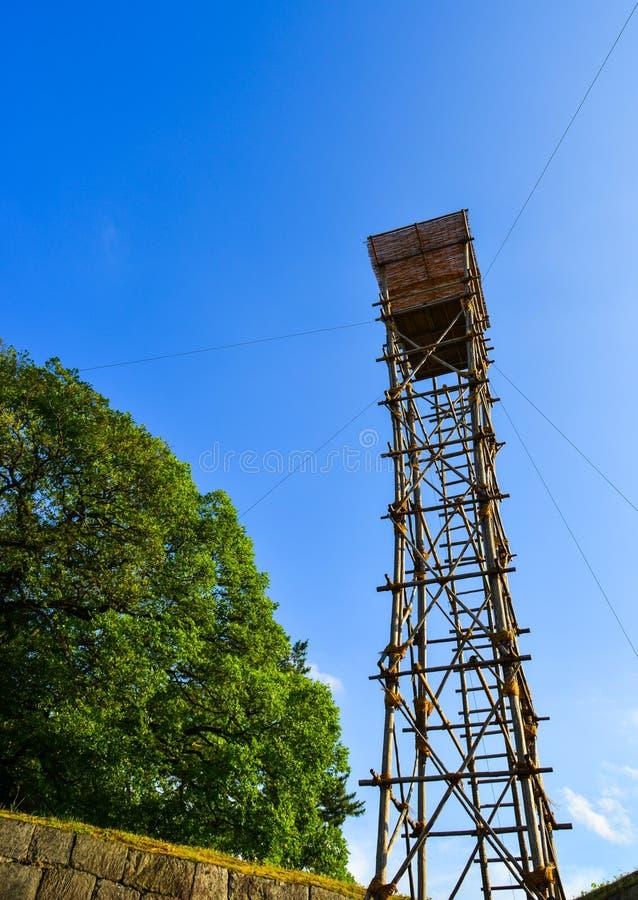 监视塔螺旋形楼梯  免版税库存照片
