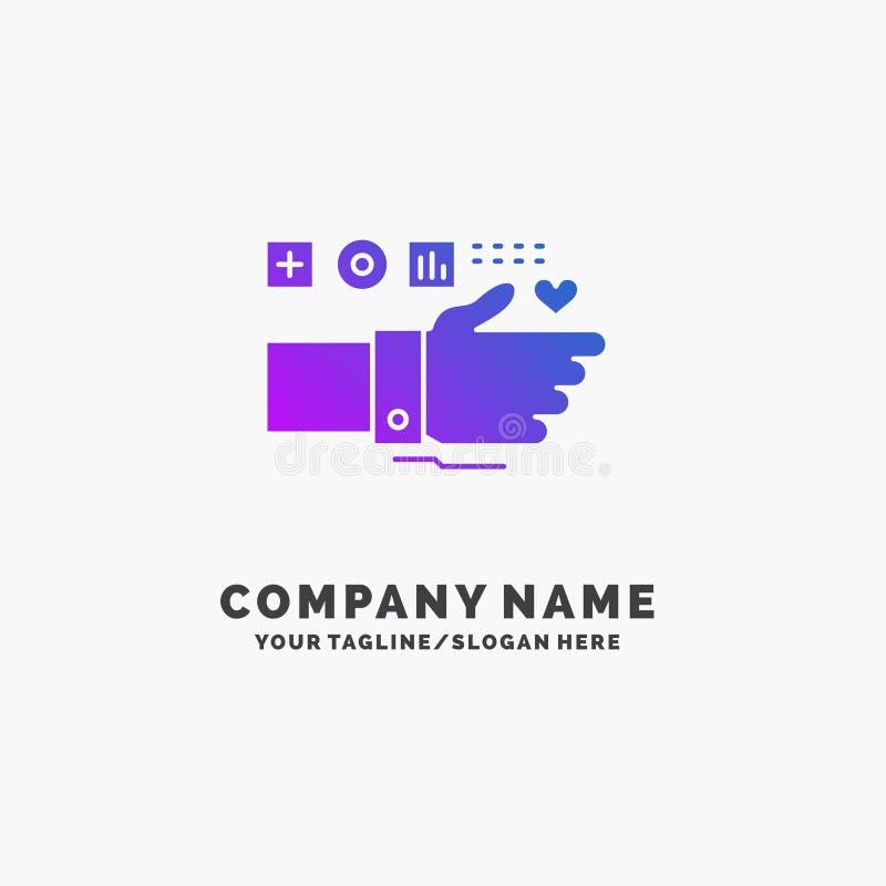 监视,技术,健身,心脏,脉冲紫色企业商标模板 r 库存例证