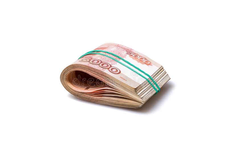 盒五千卢布钞票 库存照片