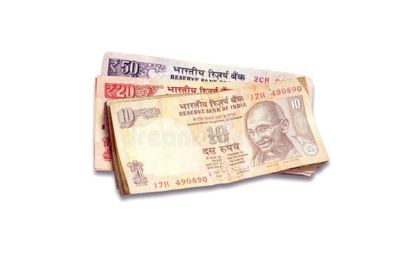 盒印地安货币注意说谎在桌上 库存图片