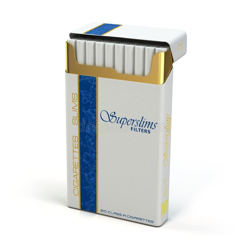 盒在白色背景的亭亭玉立的香烟 向量例证