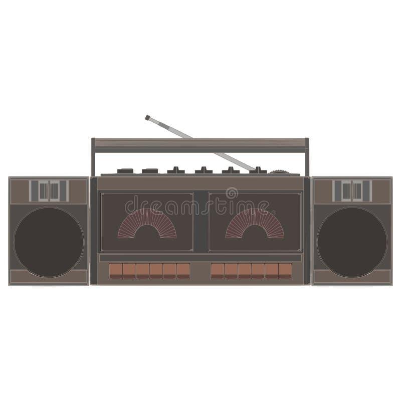 盒式带录音机平的正面图例证对象 向量例证