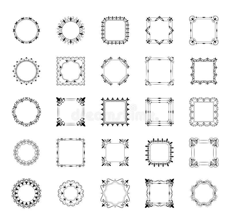 盒框架和组合图案排行象 向量例证