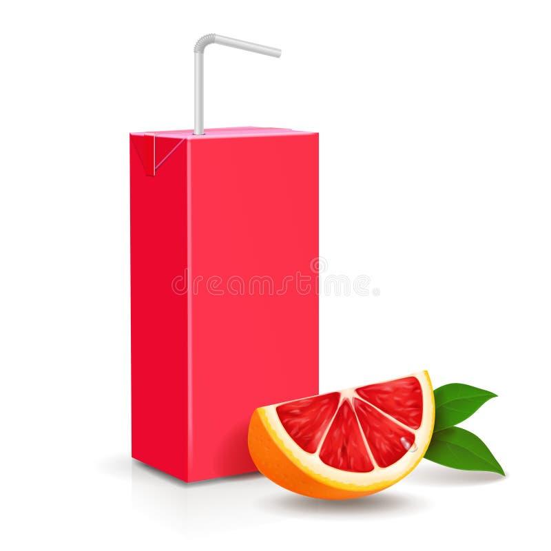 盒汁液 葡萄柚与秸杆的纸盒包裹 皇族释放例证
