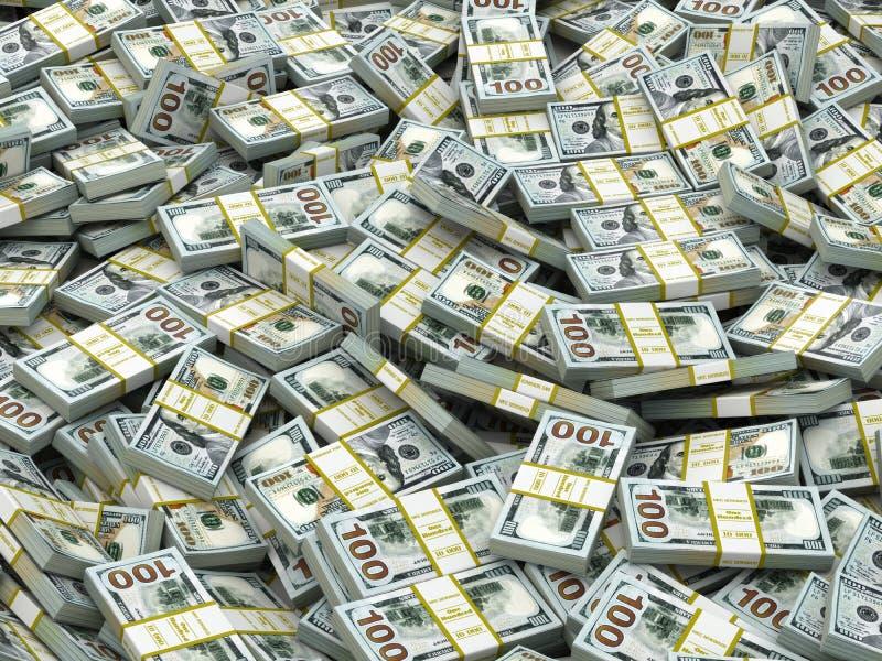 盒美元背景 许多现金金钱 皇族释放例证