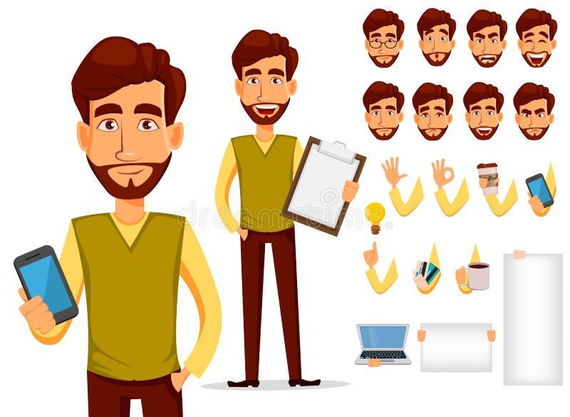 盒身体局部和情感 传染媒介在动画片样式的字符例证 有胡子的商人 向量例证