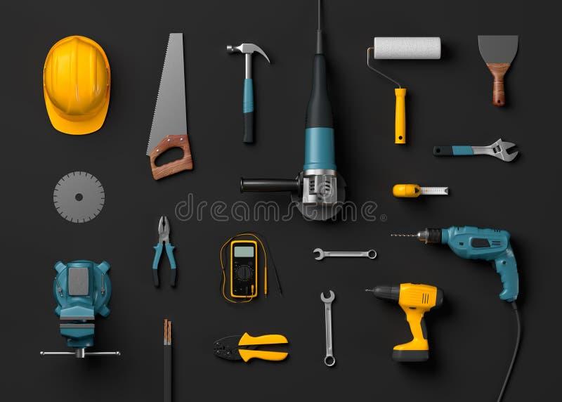盔甲、钻子和建筑工具 向量例证