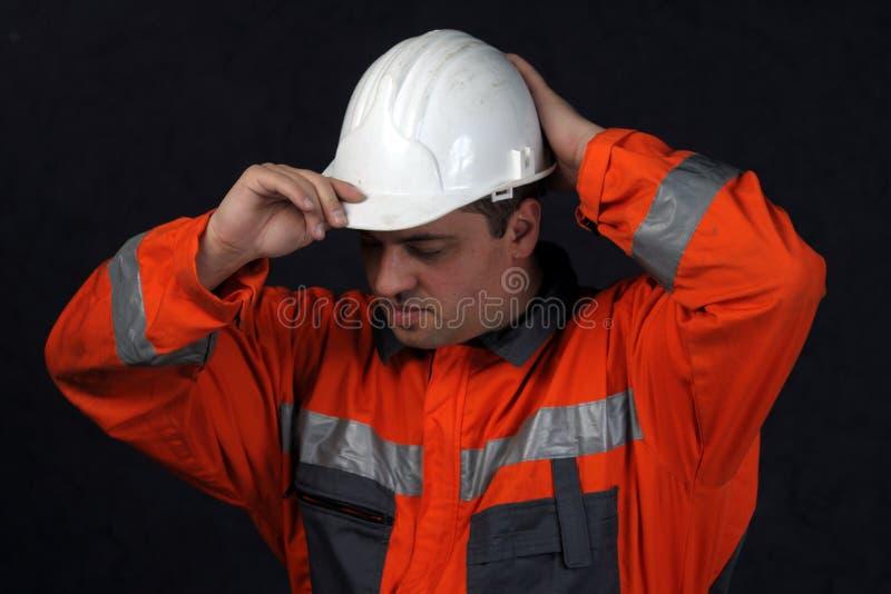 盔甲最小值白色工作者 免版税库存图片