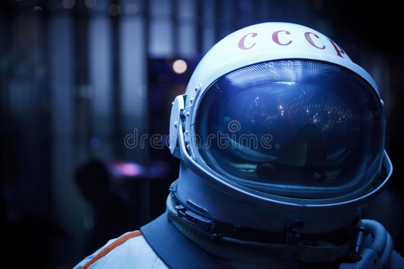 盔甲登记照片太空服苏联 免版税库存照片