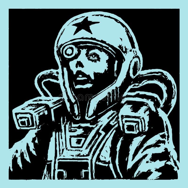 盔甲的女性面孔宇航员 也corel凹道例证向量 皇族释放例证