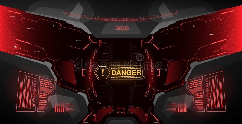 盔甲的未来派概念ui 平视显示的显示模板 从盔甲的看法与HUD元素 皇族释放例证
