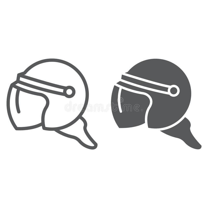 盔甲线和纵的沟纹象、保护和制服,警察盔甲标志,向量图形,在白色的一个线性样式 皇族释放例证