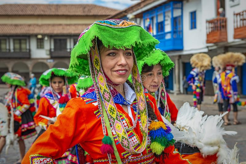 盖丘亚族人的夫人Portrait在库斯科,秘鲁 库存图片