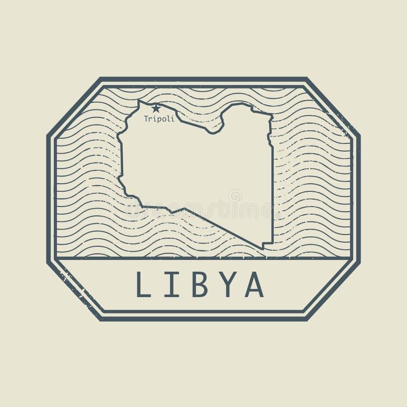 盖印与利比亚的名字和地图 皇族释放例证