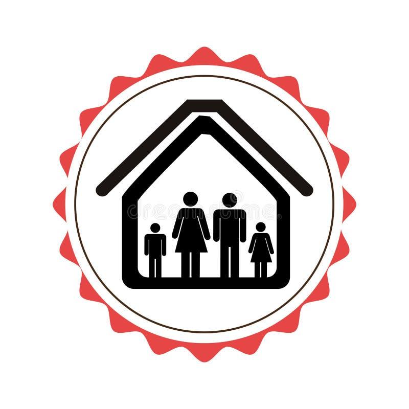 盖印与剪影家庭的边界在房子图表 库存例证