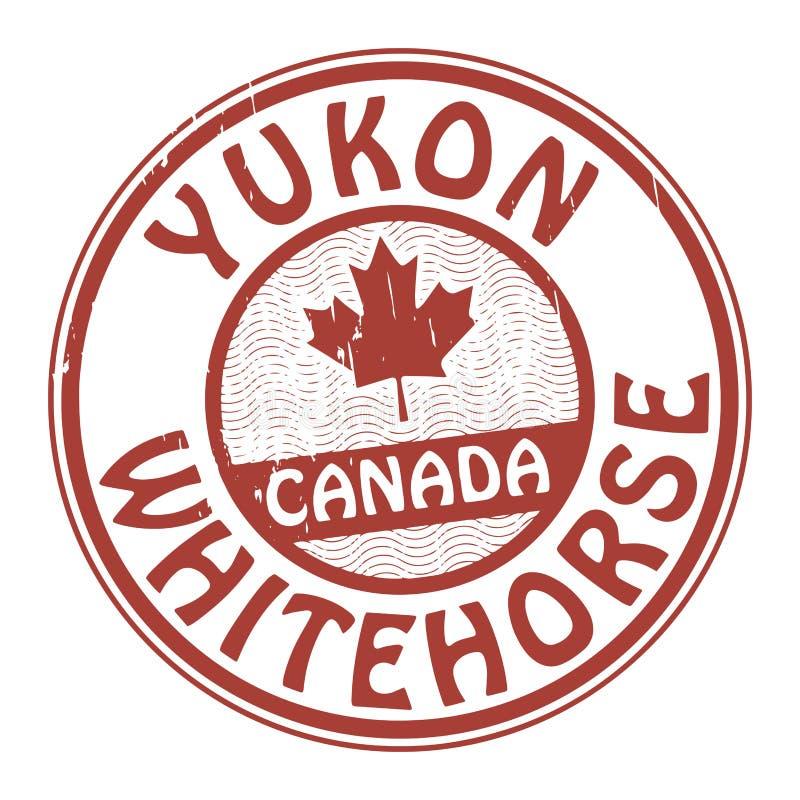 盖印与加拿大、育空和Whitehorse的名字 皇族释放例证