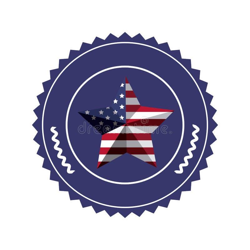 盖印与在形状星的美国旗子在3d 皇族释放例证