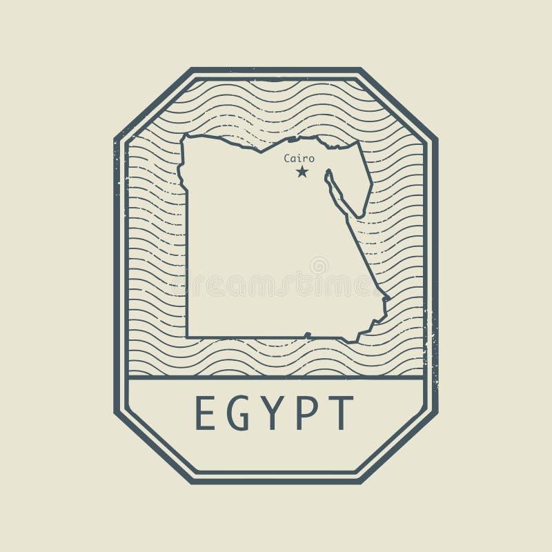 盖印与埃及的名字和地图 皇族释放例证