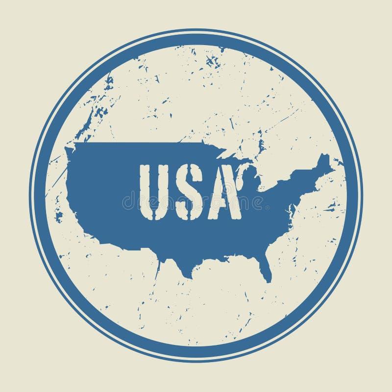 盖印与美利坚合众国的名字和地图 向量例证