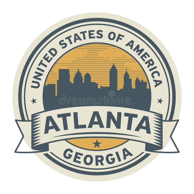 盖印或与亚特兰大,乔治亚的名字的标签, 向量例证