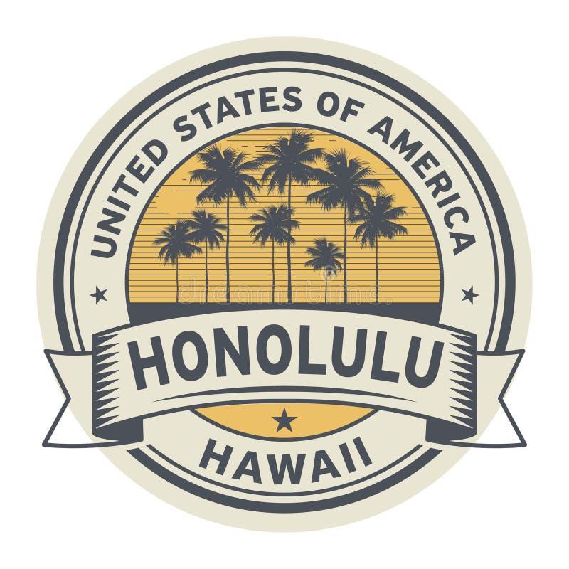 盖印或与夏威夷,檀香山的名字的标签 皇族释放例证