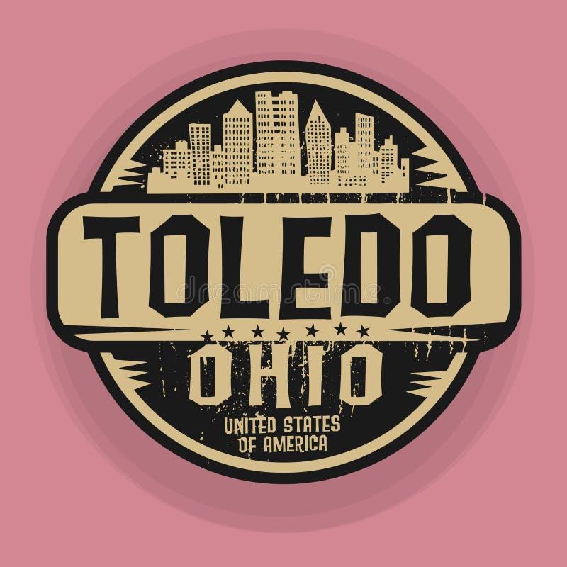 盖印或与托莱多,俄亥俄的名字的标签 皇族释放例证