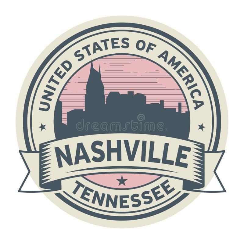 盖印或与纳稀威,田纳西的名字的标签 向量例证
