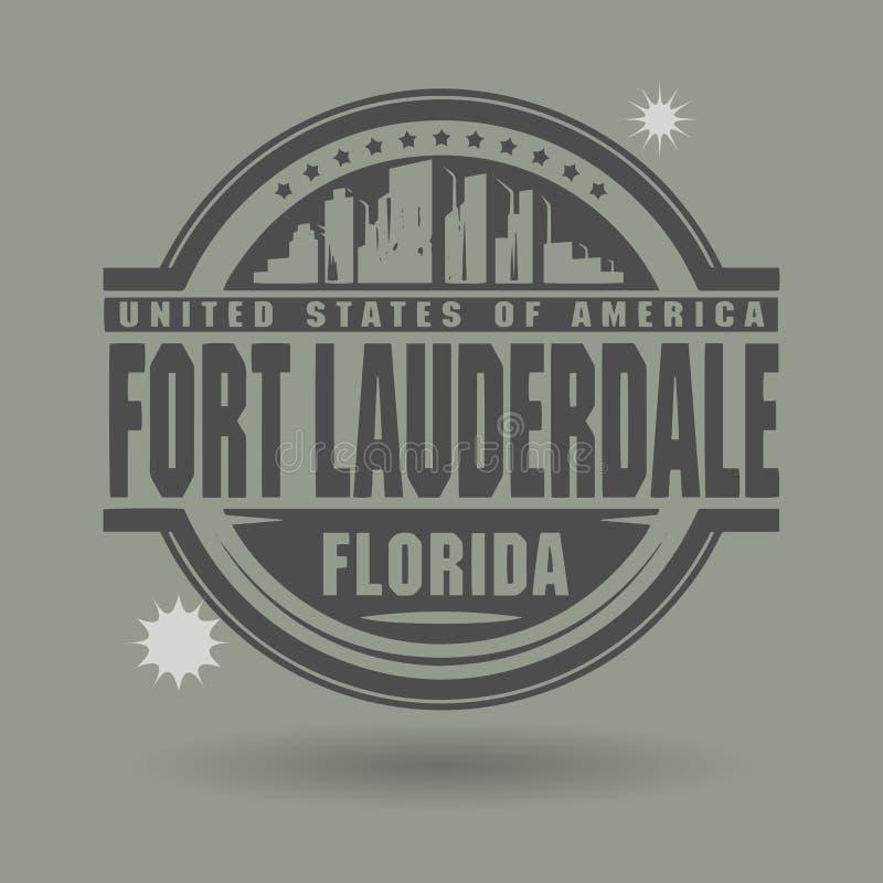 盖印或与里面文本劳德代尔堡,佛罗里达的标签 向量例证