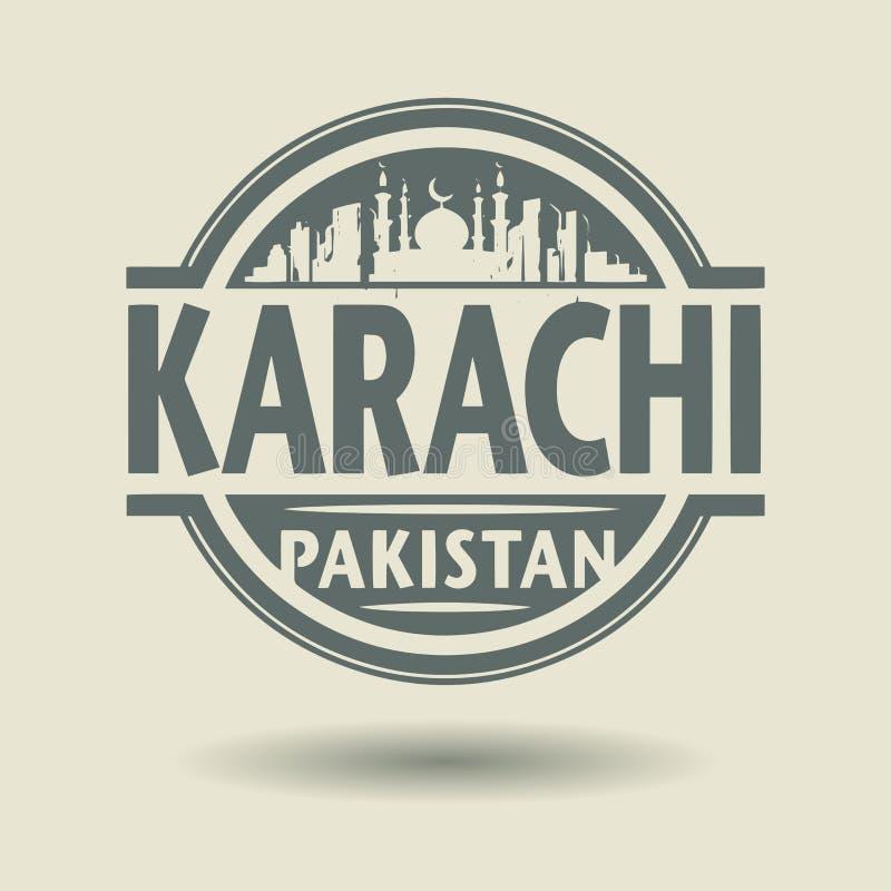 盖印或与里面文本卡拉奇,巴基斯坦的标签 皇族释放例证