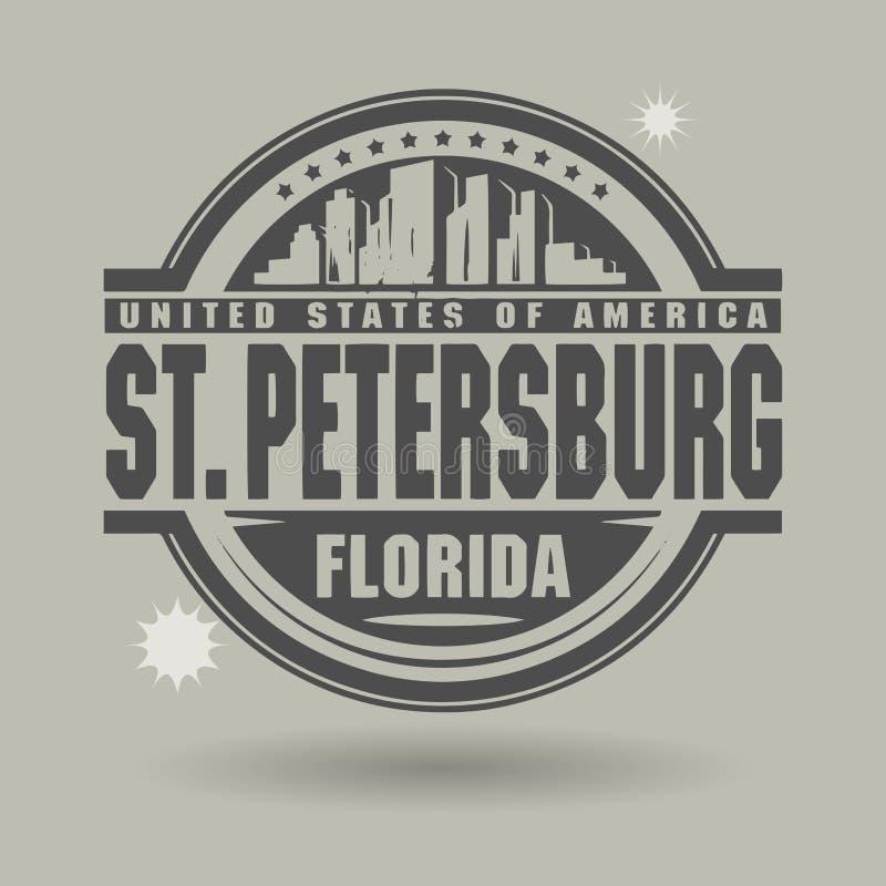 盖印或与里面文本圣彼德堡,佛罗里达的标签 皇族释放例证