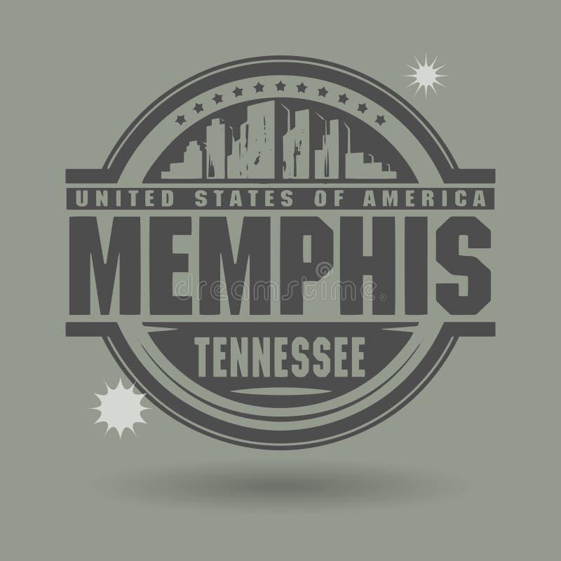 盖印或与里面文本孟菲斯,田纳西的标签 皇族释放例证
