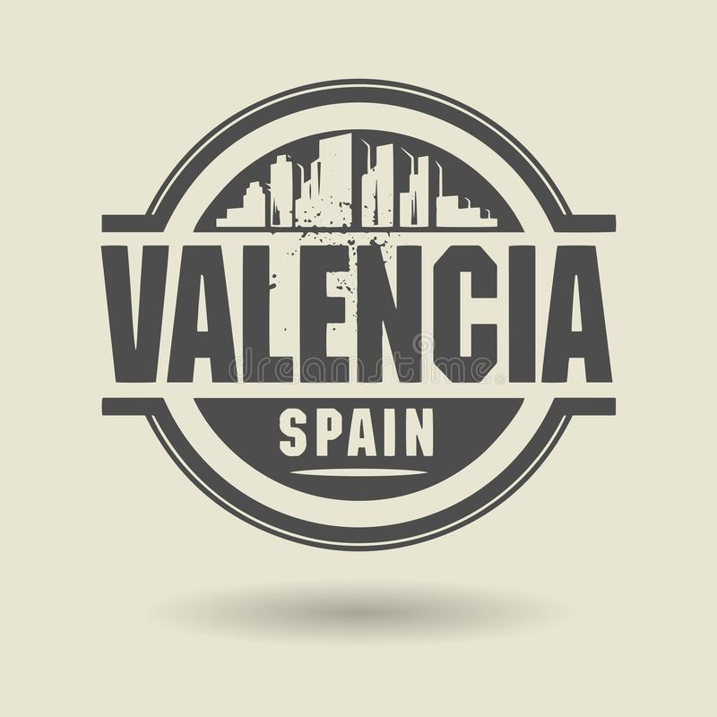 盖印或与里面文本巴伦西亚,西班牙的标签 库存例证