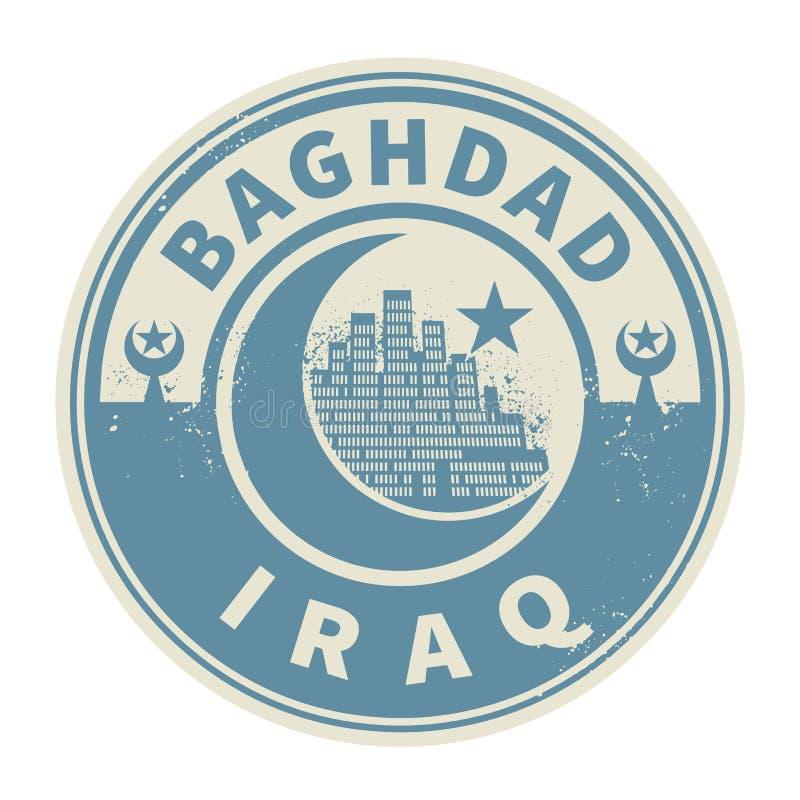 盖印或与里面文本巴格达,伊拉克的象征 库存例证
