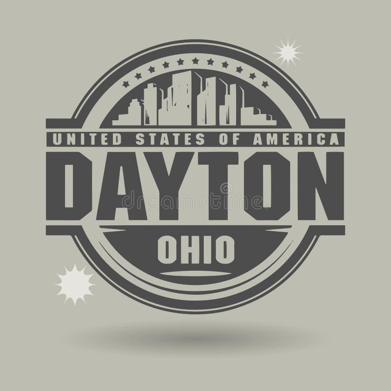 盖印或与里面文本德顿,俄亥俄的标签 库存例证