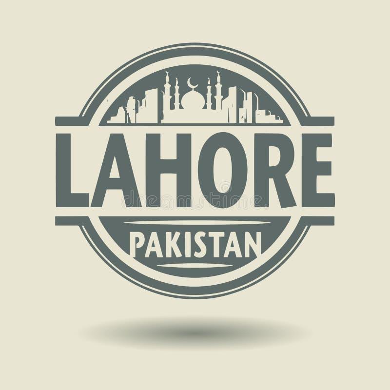 盖印或与里面文本拉合尔,巴基斯坦的标签 皇族释放例证