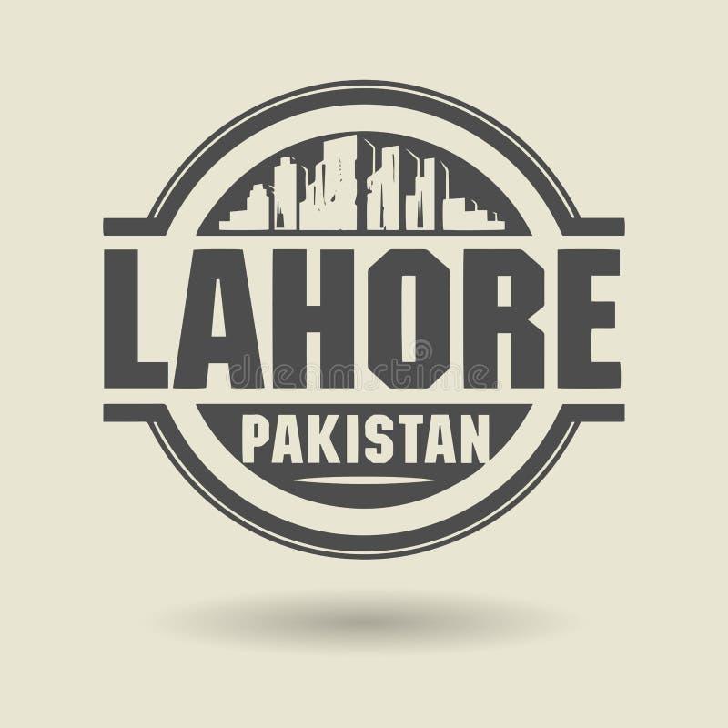 盖印或与里面文本拉合尔,巴基斯坦的标签 向量例证