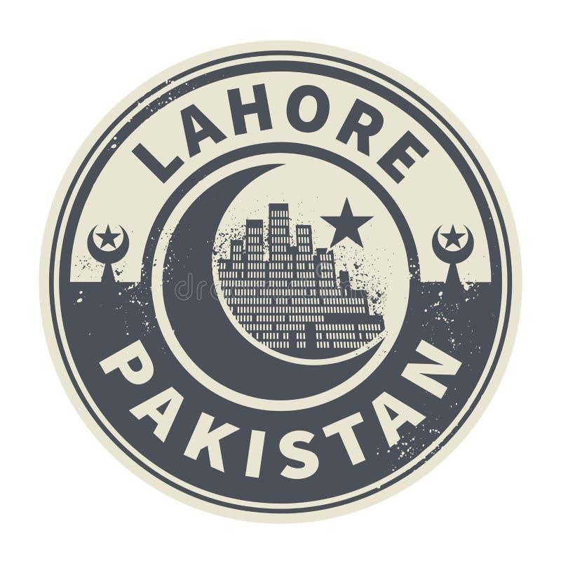 盖印或与里面文本拉合尔,巴基斯坦的象征 库存例证