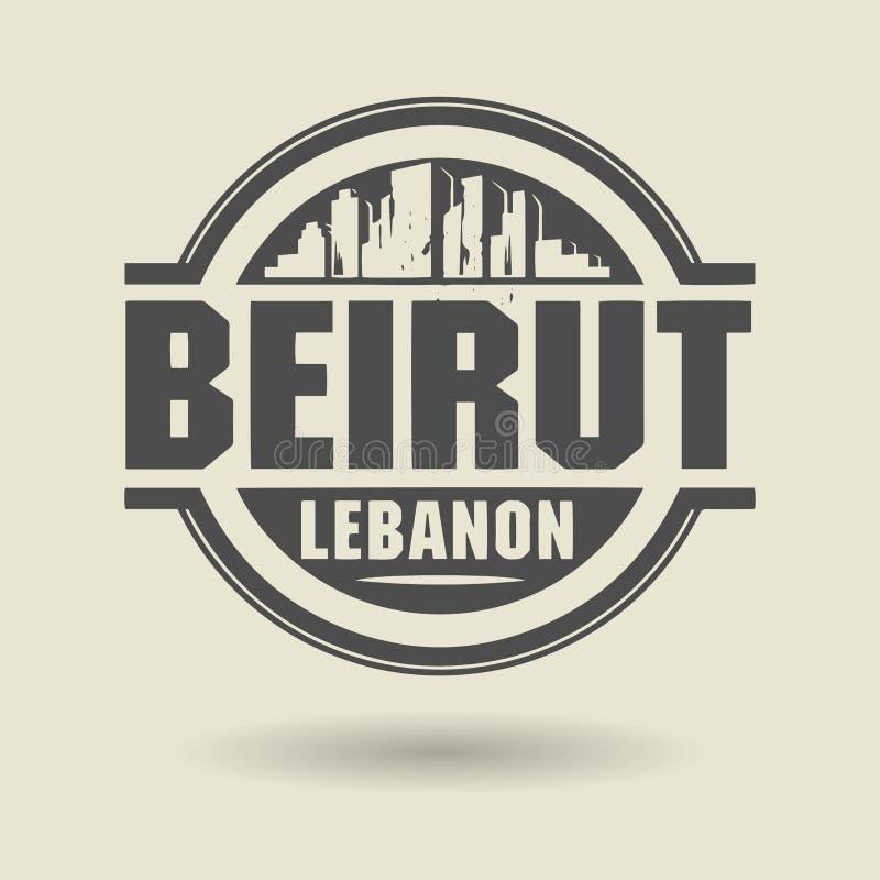 盖印或与里面文本贝鲁特,黎巴嫩的标签 库存例证