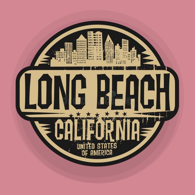 盖印或与长滩,加利福尼亚的名字的标签 皇族释放例证