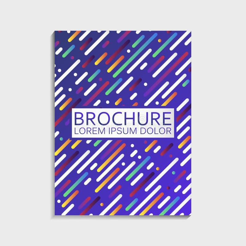 盖子为与抽象梯度几何被环绕的线样式的小册子设计 现代时髦传染媒介 向量例证