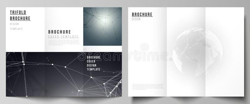盖子传染媒介布局设计三部合成的小册子或飞行物的模板 与世界地球的未来派几何设计 向量例证