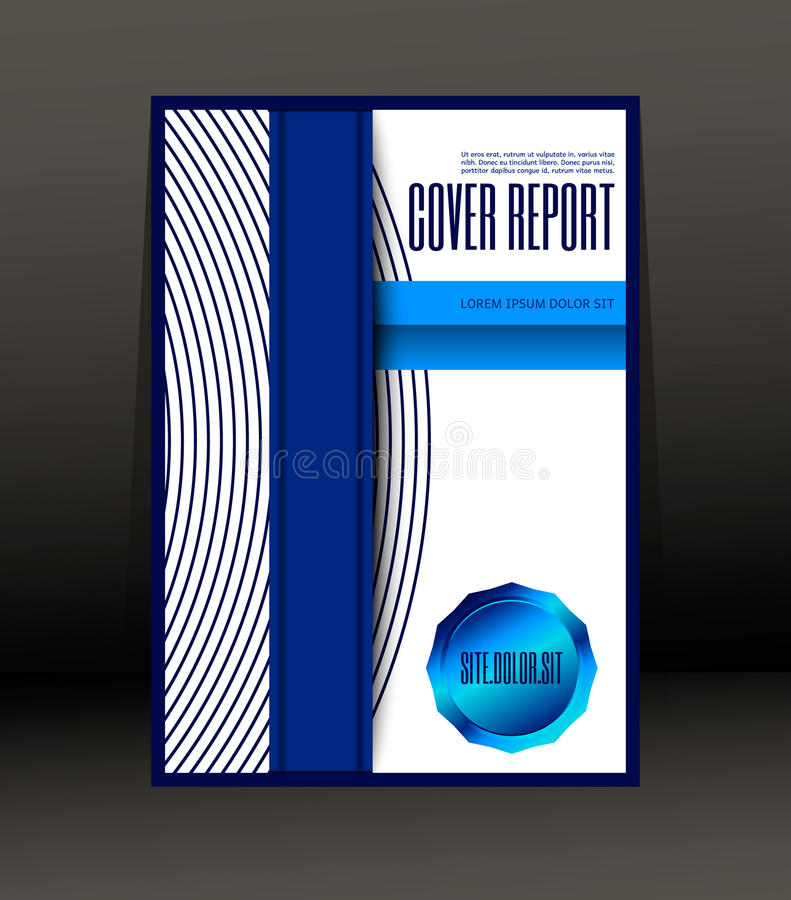 盖子报告的模板设计 飞行物 在A4大小的海报 皇族释放例证